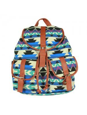 Vintage Drawstring Double Hasp Geometry Pattern Rucksack Backpack