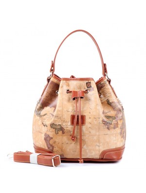 Casual Retro World Map Bucket Handbag Messenger Bag Shoulder Bag