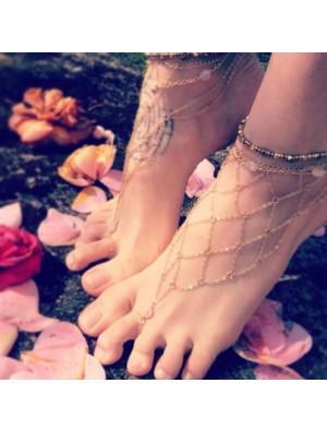 Women Reticular Gold Anklet Handmade Beach Foot Jewelry
