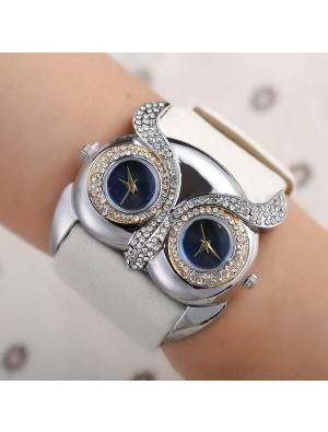 Cute Owl Inlay Diamond Double Dial Eyes Watch
