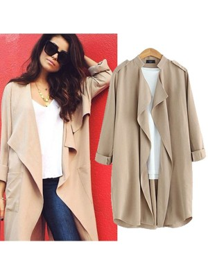 Western Style Solid Casual Wavy Lapel Collar Rolled Sleeves Ladies Coat