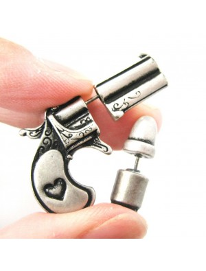 Punk Plated Gun Bullet Woman Killer Stud Earrings