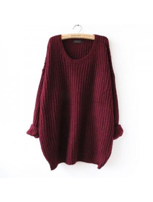 Fashion Round Neck Variegated Long Loose Wool Sweater