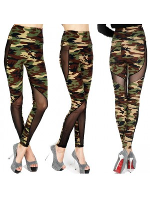 Sexy Girl's Mesh See Through Camouflage Splicing Ninth Skinny Legging