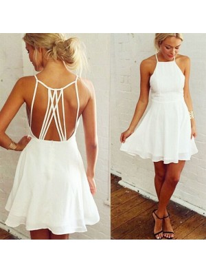 Nifty Girl's White Sleeveless Back Cross Straps Backless Party Evening Cocktail Dress Ruffles Chiffon Summer Dresses