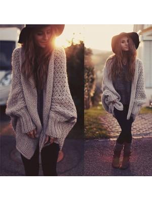 Fashion Batwing Knitted Long Cardigan Sweater Coat Oversize Knitwear