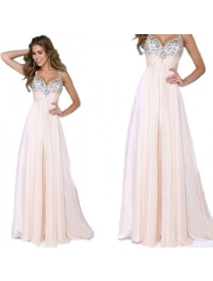Fashion Maxi Prom Dress Ruffles Chiffon Braces Girl's Sequins Sparkly Evening Dresses