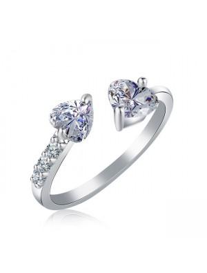 Fashion Double Heart Full Open Adjustable Diamond Ring