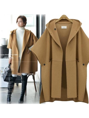 New Unique Hooded Batwing Sleeveless Cape Woolen Jacket Large Size Loose Woolen Coat  Winter Coat