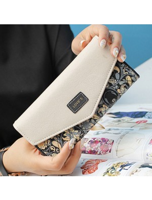 Unique Floral Purse Flower Printing Clutch Bag Long Ladies Wallet