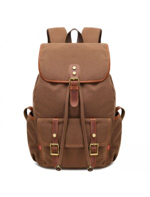 Retro Splicing Rivets Drawstring Rucksack Travelling Large Capacity Outdoor Canvas Backpacks