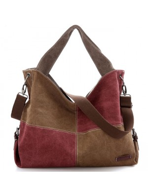Retro Splicing Square Contrast Color Blocking Large Capacity Canvas Shoulder Bag Girl's Handbag