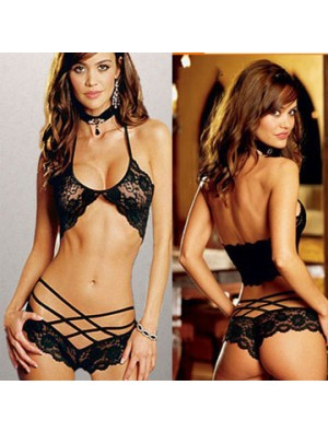 Sexy See Through Cross Straps Bikini Braces Underwear Women's Lace Lingerie