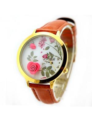 Fresh Flower Gold Edge Polymer Clay Watch