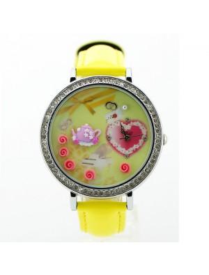 Romantic  Rhinestone Trim Polymer Clay Watch