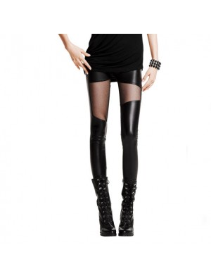 Sexy Leatherette Stitching Gauze Leggings