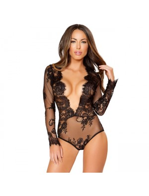 Sexy Lace Conjoined Long Sleeve V Temptation Black Flower Women Intimate Lingerie