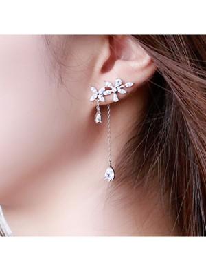 Leisure Drop Girl Tassel Silver Fringed Flower Zircon Earrings Studs