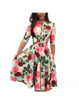 Leisure Red Flower Rose Leaf Print Middle Sleeve Summer Dress