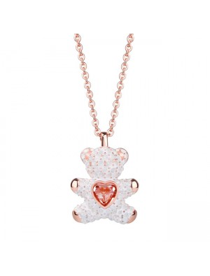 Fashion Heart Jewelry Pink Diamond Lover Gift Women Necklace Teddy Bear Pendant Silver Necklace