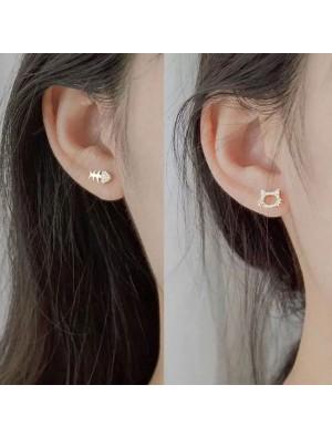 Cute Asymmetrical Silver Cat Fish Bone Rhinestone Women Earrings Studs