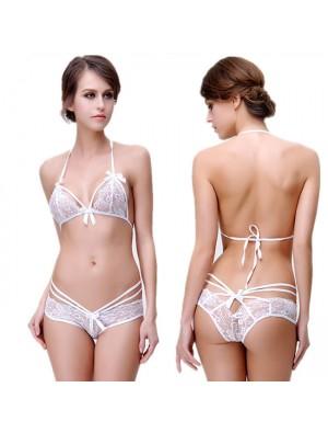 Sexy Tie Bow Bra Set Underwear Lace Hollow Flower Women Sling Lingerie