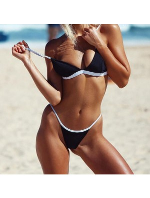 Sexy Simple Bikini Black Contrast Color Sling Hot Summer Swimsuit