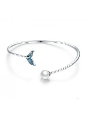 Cute Mermaid Tear Pearl Diamond Women Open Silver Bracelet