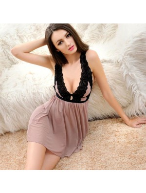 Sexy Appeal Perspective Nightdress Pajamas  Lace Waist Sling Lingerie