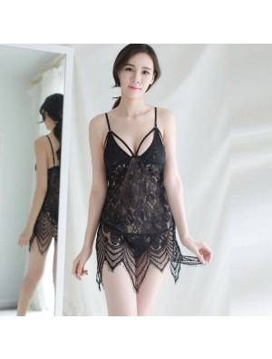 Sexy Lingerie Strap Nightdress Perspective Pajamas Lace Transparent Erotic Hollow Lingerie