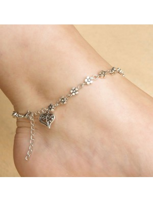 Cute Heart-Shaped Small Flower Anklet Hollow Foot Accessory Ring Anklet