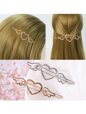 Cute Cupid Love Heart Angel Wings Metallic Side Women Hollow Hair Clips