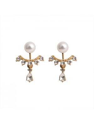 Sweet Water Droplets Pearl Rhinestone Lady Earrings Studs