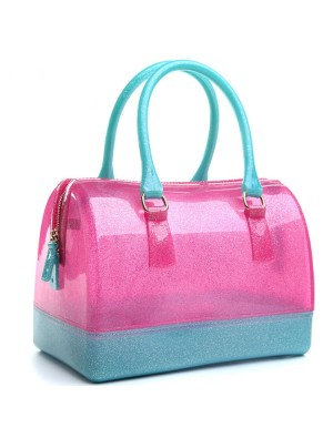 Fashion Candy Colored Transparent Crystal Handbag