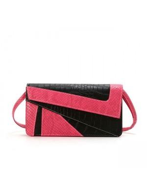 Fashion Serpentine Contrast Color Envelope Geometry Clutch Bag