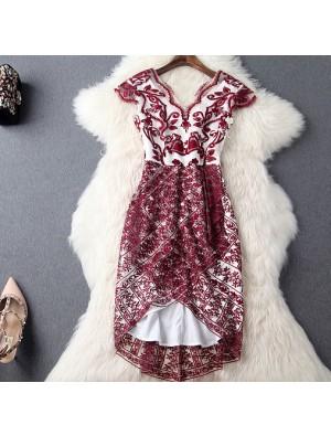 Wine Red Embroidered Gauze High Waist V-neck Irregular Dress Party Dress