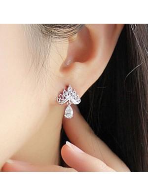 Shining Crown Earrings Wild Ear Jewelry Diamond Zircon Drop Earrings Studs