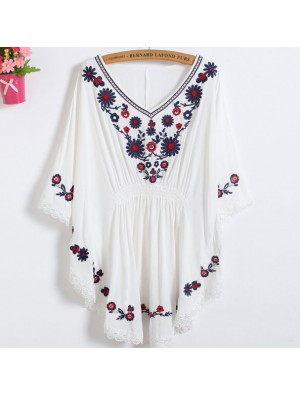 Women's Batwing Sleeves Waist Tight Lace Details Flowers Embroidery Top