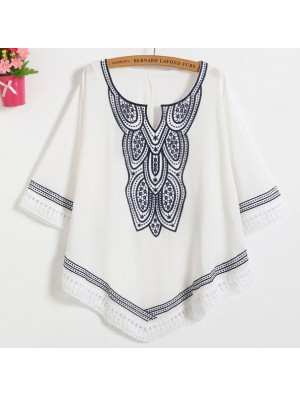 Bohemian Style Embroidery Hollowed-out Women's Batwing Sleeves Hem-line Tops