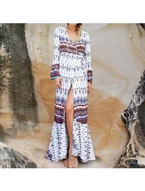 Women's V-neck Long Sleeves Bohemian Printing Full-lengh Dress With Belt