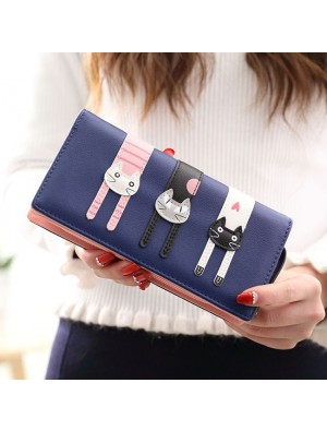 Lovely Long Cat Zipper Phone Wallet Lady Purse Kitten Clutch Bag