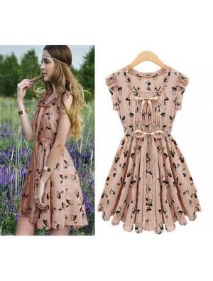 Nice New Pearl Chiffon Elk Pattern Slim Dress