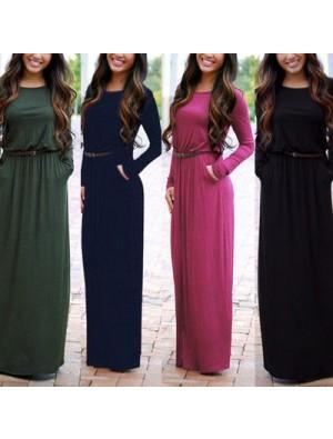 Simple Style Round Neck Maxi Pocket Slim Waist Long Sleeve Dress With Belt