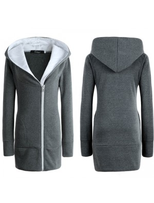 Fashion Women's Winter Long Zipper Warm Hoodie Coat Slim Coat Outwear Jacket Thicken Cotton-padded Jacket Coat
