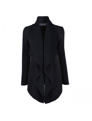 New Women's Jacket Top Front Open Lapel Long Coat