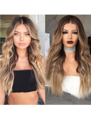 Fashion Brown Gradient Curly Hair Big Wave Long Wig Curly Hair Wig