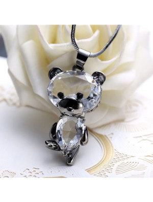 Fashion Cute Crystal Dancing Bear Doll Pendant Necklace Animal Sweater Chain Necklace