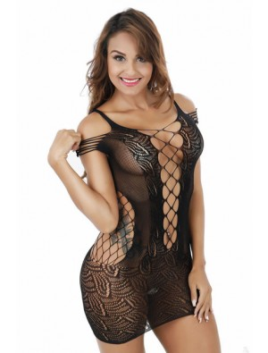 Sexy Mesh Hollow Out Lingerie Set Siamese Skirt Tight Conjoined Net