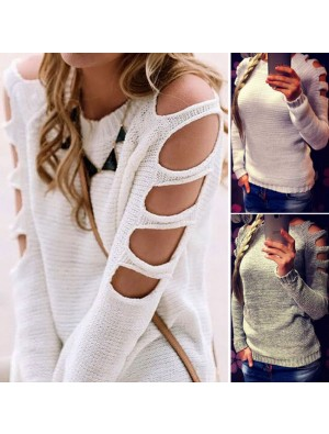Fashion Women's Sleeves Hollowd-out Sexy Pullover Round Neck Collar Sweater