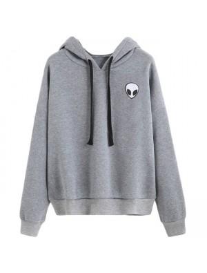 Simple Alien Gun Printing Hoodie Pullover Long Sleeves Women Sweater